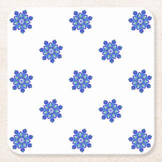 Porta-copo De Papel Quadrado Caleidoscópio da estrela azul do Cornflower