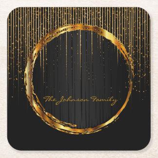 Porta-copo De Papel Quadrado Chá dourado elegante da luz da estrela