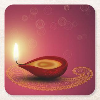Porta-copo De Papel Quadrado Diwali feliz brilhante Diya - porta copos de papel