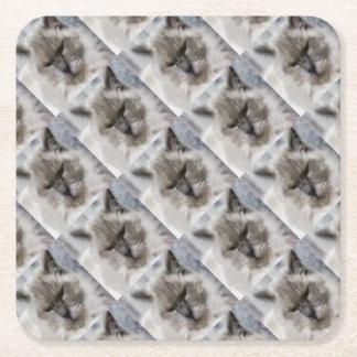 Porta-copo De Papel Quadrado Gato persa branco na aguarela