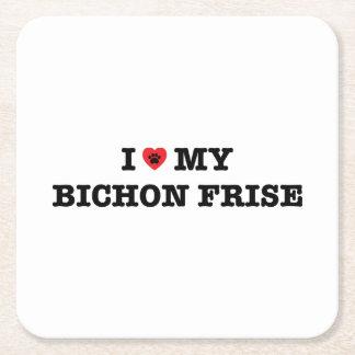 Porta-copo De Papel Quadrado Mim coração meu Bichon Frise