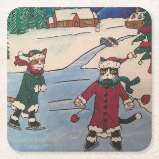 Porta-copo De Papel Quadrado Patinagem no gelo do Natal