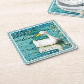 Porta-copo De Papel Quadrado Pato branco de Pekin - fotografia da natureza