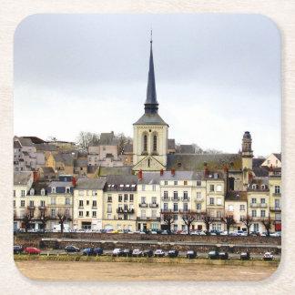 Porta-copo De Papel Quadrado Porta copos da cena do banco de rio de Saumur