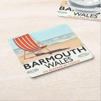 Porta-copo De Papel Quadrado Poster norte das viagens vintage de Barmouth wales