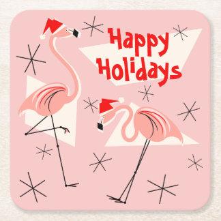 Porta-copo De Papel Quadrado Quadrado do rosa de Santa do flamingo boas festas