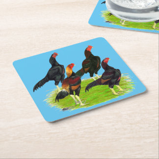 Porta-copo De Papel Quadrado Quarteto oriental da galinha de jogo