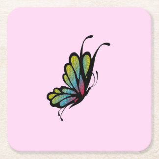 Porta-copo De Papel Quadrado Rosa colorido da borboleta do arco-íris