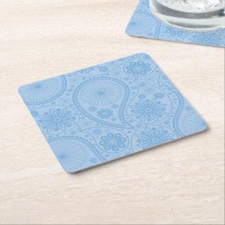 Porta-copo De Papel Quadrado Teste padrão azul de paisley