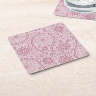 Porta-copo De Papel Quadrado Teste padrão cor-de-rosa de paisley
