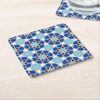 Porta-copo De Papel Quadrado Teste padrão marroquino geométrico islâmico no