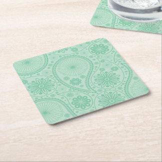 Porta-copo De Papel Quadrado Teste padrão verde de paisley da hortelã