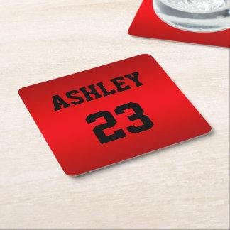 Porta-copo De Papel Quadrado Vermelho do número do jérsei dos esportes e o