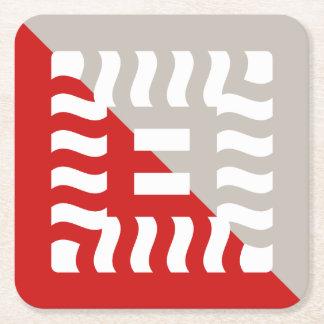 Porta-copo De Papel Quadrado Vermelho/taupe reversos rachados do número 8
