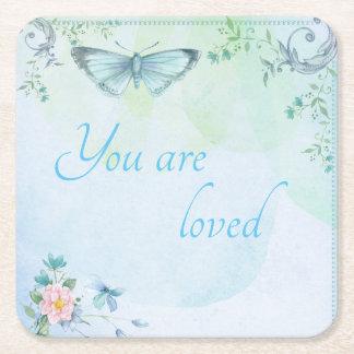 """Porta-copo De Papel Quadrado """"Você é"""" borboleta azul amada"""