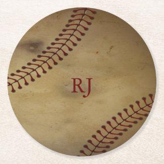 Porta-copo De Papel Redondo Basebol do vintage