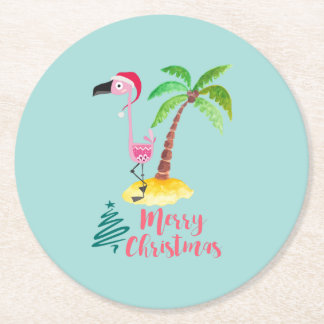 Porta-copo De Papel Redondo Flamingo cor-de-rosa em um chapéu do papai noel
