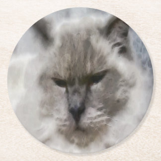 Porta-copo De Papel Redondo Gato persa branco na aguarela