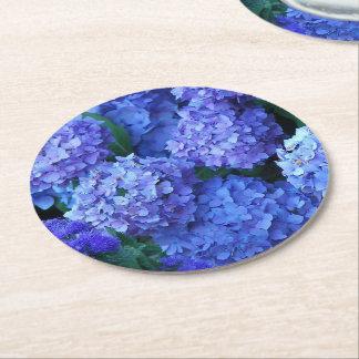 Porta-copo De Papel Redondo Hydrangeas azuis florais