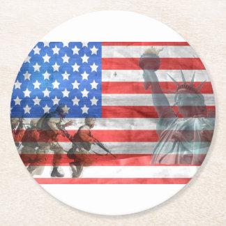 Porta-copo De Papel Redondo O veterano dos EUA da bandeira personaliza