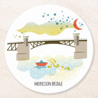 Porta-copo De Papel Redondo Porta copos de Portland da ponte de Morrison