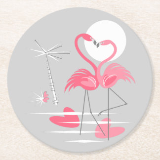 Porta-copo De Papel Redondo Porta copos do amor do flamingo redonda