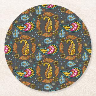Porta-copo De Papel Redondo Teste padrão da laranja de turquesa das folhas de
