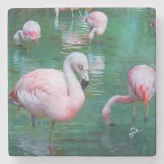 Porta-copo De Pedra Belas artes cor-de-rosa dos flamingos