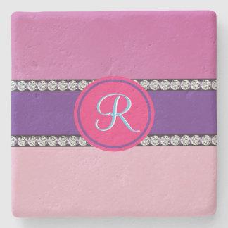 Porta-copo De Pedra Inicial feminino malva cor-de-rosa roxa magenta do