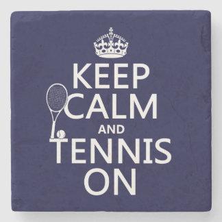 Porta-copo De Pedra Mantenha a calma e o tênis em (alguma cor do