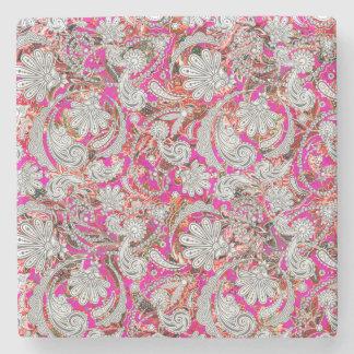 Porta-copo De Pedra Padrões cor-de-rosa brancos bonitos de paisley