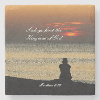 Porta-copo De Pedra Procure o primeiro reino de deus, Matthew 6, por