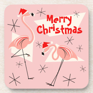 Porta-copo Feliz Natal cor-de-rosa de Santa do flamingo