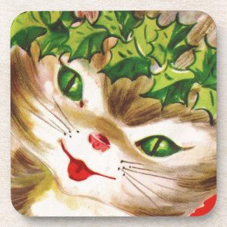 Porta-copo gatinho do natal vintage