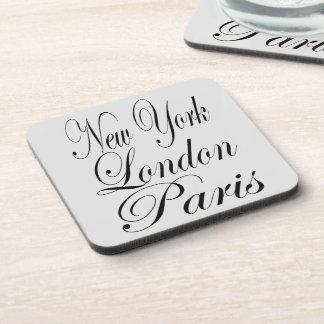 Porta-copo Impressão do texto de New York Londres Paris