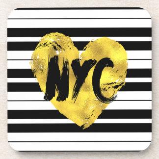 Porta-copo Listras preto e branco, coração do ouro de NYC