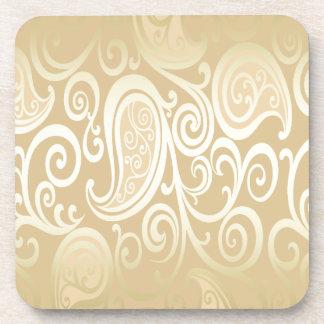 Porta-copo ouro alegre adorável paisley floral do vintage