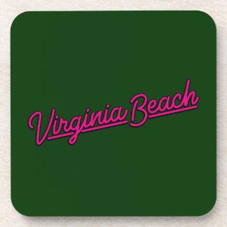 Porta-copo Virginia Beach de néon assina dentro a magenta