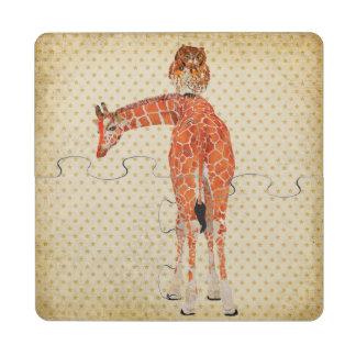 Porta copos ambarina do quebra-cabeça do girafa &  porta copo em quebra-cabeça