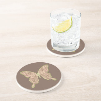 Porta-copos Arenito tribal do marrom da borboleta de Paisley