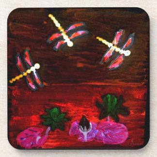 Porta-copos Arte abstracta da lagoa do lírio da libélula