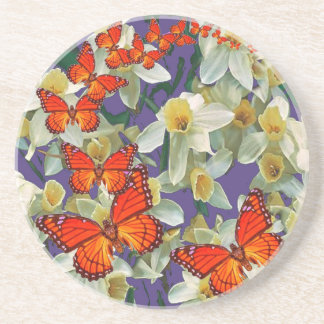 Porta-copos Arte alaranjada do narciso das borboletas de