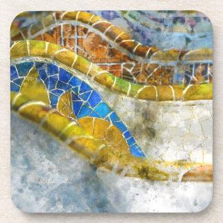 Porta-copos Bancos do mosaico de Parc Guell na espanha de