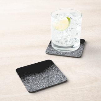 Porta-copos Brilho de prata elegante no preto. Portas copos