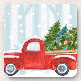 Porta-copos Camionete vermelho do Natal em uma estrada nevado