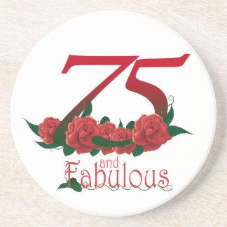 Porta-copos De Arenito 75 e 75th número fabuloso do aniversário