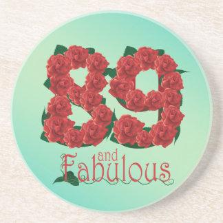 Porta-copos De Arenito 89 e 89th rosas vermelhas fabulosas do aniversário