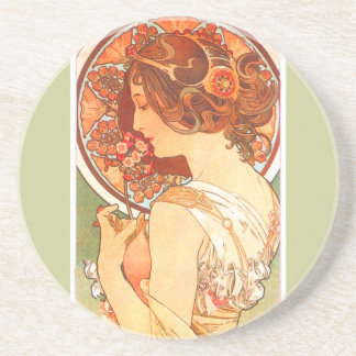 Porta-copos De Arenito A arte Nouveau floresce a senhora Mulher Floral