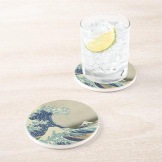 Porta-copos De Arenito A grande onda fora de Kanagawa