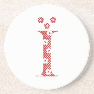 Porta-copos De Arenito alfabeto da flor mim (vermelho e pontos)